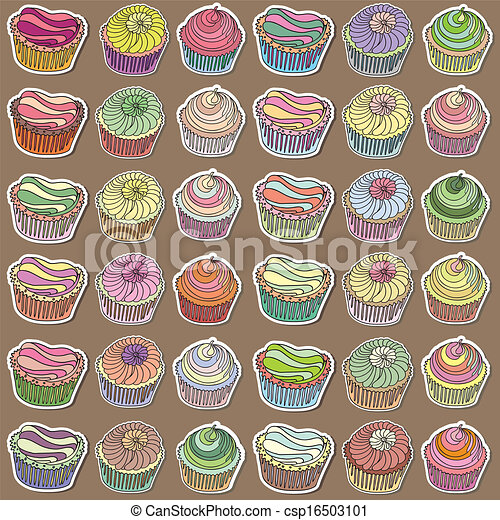 Set of hand drawn cupcakes - csp16503101