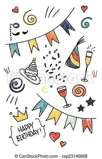 Set of hand drawn doodles, birthday theme - csp23146668