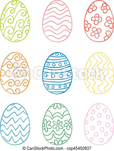 Set of hand drawn Easter eggs - csp45450837