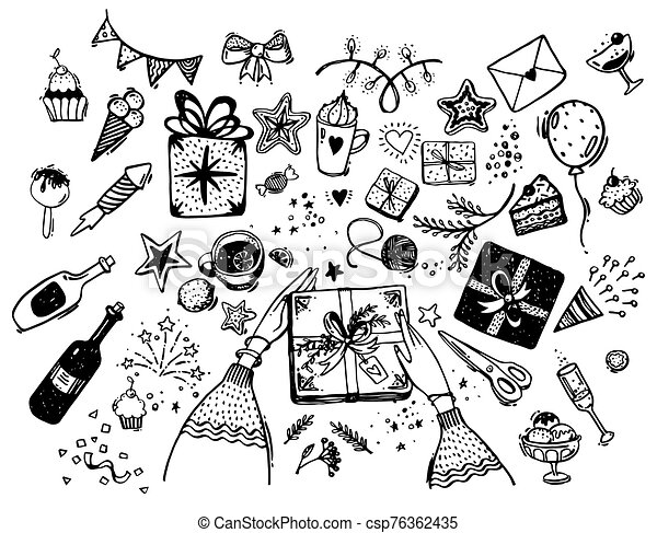 Set of hand drawn elements for the holiday. Doodle illustration of a birthday party. Hands pack a gift, sweets, garland, coffee, wine, bow, cupcakes. Vector isolated on white - csp76362435
