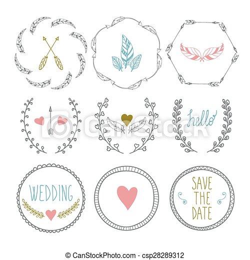Set of hand drawn frames with wedding decorative elements vector set of hand drawn frames with wedding decorative elements csp28289312 junglespirit Gallery