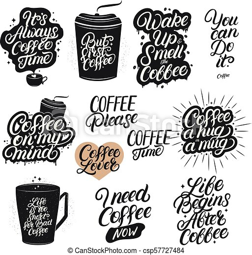 Set Of Hand Drawn Lettering Coffee Quotes Modern Brush Calligraphy Typography Coffee Related Posters For Home Cafe Decor Canstock