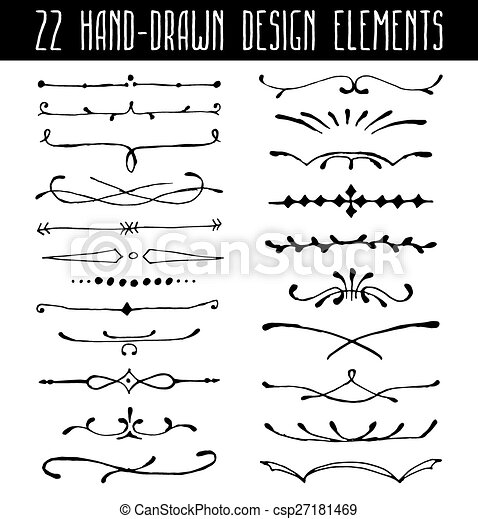 Set Of Hand Drawn Line Border Dividers And Design Element Vector