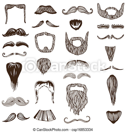 Set of hand drawn Moustache / Mustache - photo booth, costume, party - in vector - csp16853334