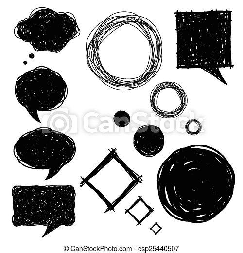 set of hand drawn sketch bubbles - csp25440507