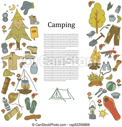 Set Of Hand Drawn Sketch Camping Equipment Symbols And Icons Vector Illustration