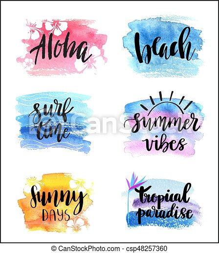 Set Of Hand Drawn Summer Theme Phrases Modern Lettering Quotes Set Simple Quotes Calligraphy