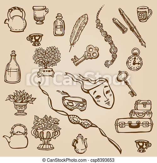 Set Of Hand Drawn Various Vintage Elements For Design And