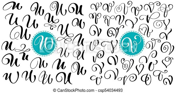 Set Of Hand Drawn Vector Calligraphy Letter U V Script Font Isolated Letters Written With Ink Handwritten Brush Style Lettering For Logos
