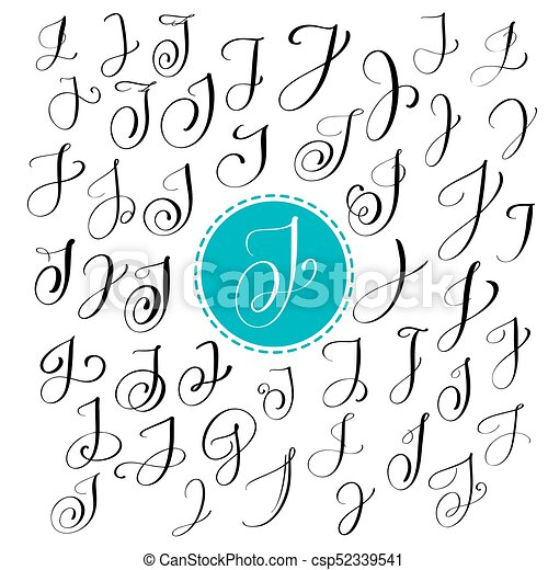 Set Of Hand Drawn Vector Calligraphy Letter J Script Font Isolated Letters Written With Ink