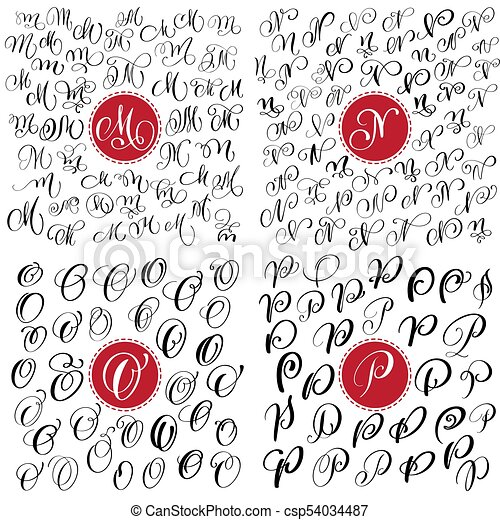 Set Of Hand Drawn Vector Calligraphy Letter M N O P Script Font