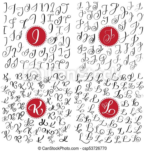 Set Of Hand Drawn Vector Calligraphy Letter I J K L Script Font Isolated Letters Written With Ink Handwritten Brush Style Lettering For Logos