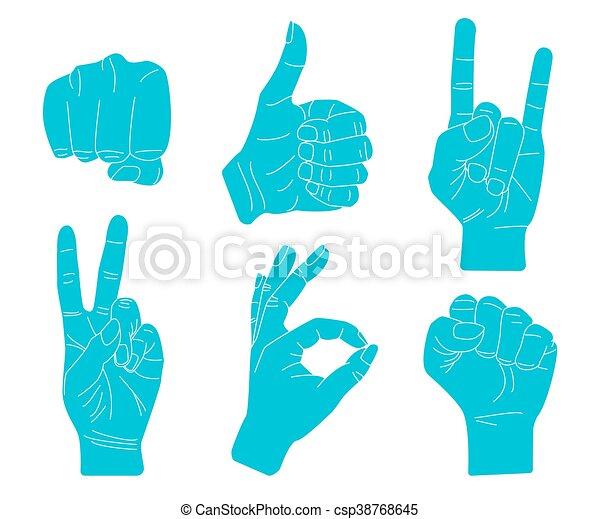 Set of Hand gestures. - csp38768645