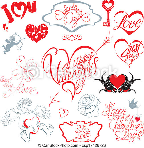 Set of hand written text: Happy Valentine`s Day, I love you, Just for you, etc. in heart shape. Calligraphic elements for holidays or wedding design in vintage style.  - csp17426726