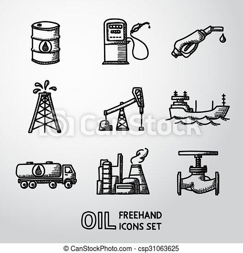 Set of handdrawn oil icons - barrel, gas station, rigs, tanker, truck, plant, valve. Vector - csp31063625