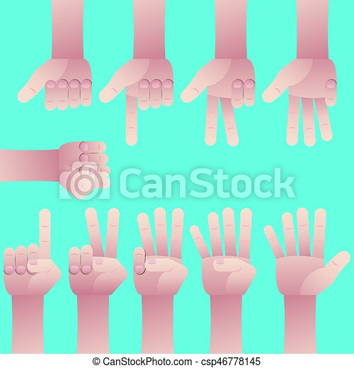 Set of hands counting zero to nine - csp46778145