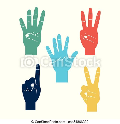 set of hands differents gestures - csp54866339