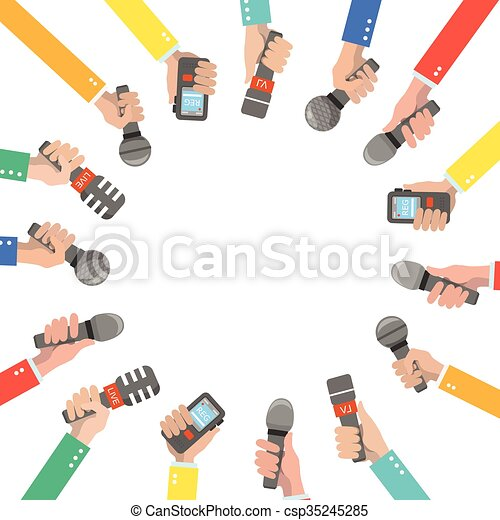 Set of hands holding microphones and voice recorders. - csp35245285