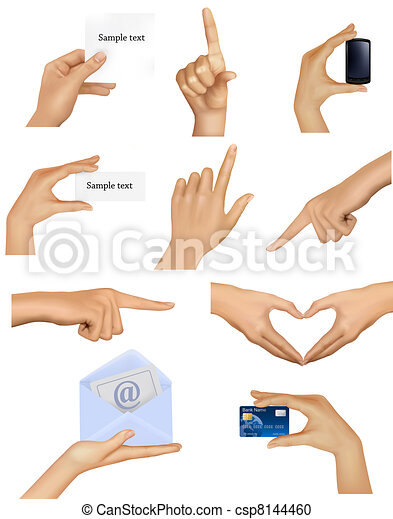 Set of hands holding objects. - csp8144460
