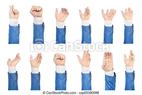 Set of hands in suit on a white background - csp55390098