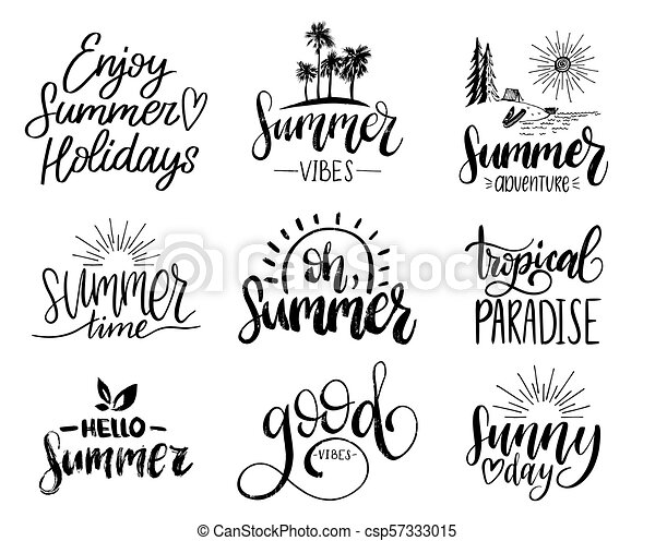 Calligraphy Quotes Set of handwritten inspirational summer phrases. vector fun quotes  Calligraphy Quotes