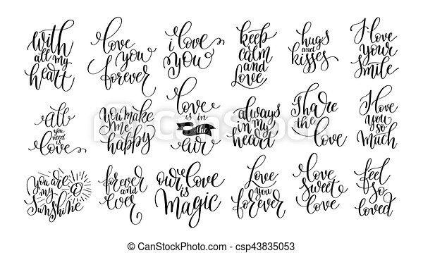 set of handwritten lettering positive quote about love - csp43835053