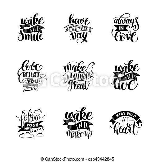 set of handwritten lettering positive quote about life - csp43442845