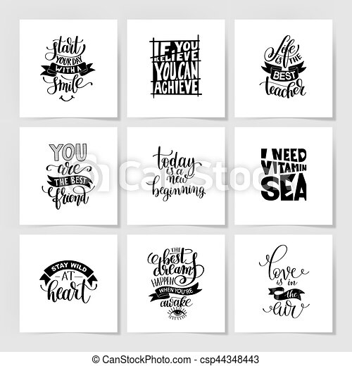 set of handwritten lettering positive quote about life - csp44348443