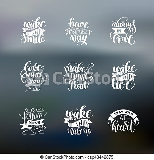 set of handwritten lettering positive quote about life - csp43442875