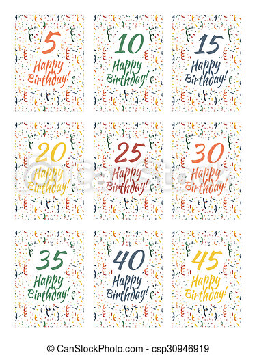 Set of happy birthday card covers for anniversary clipart set of happy birthday card covers for anniversary 5101520 bookmarktalkfo Choice Image
