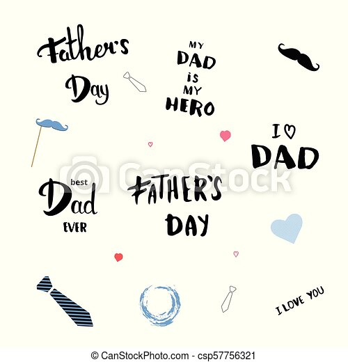 Set Of Happy Fathers Day Quotes Vector Illustration Set Of Happy