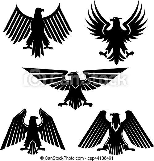 Set of hawk and eagle heraldic, falcon icons. Heraldic ...