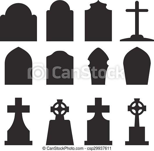 set of headstone and tombstone silhouette in europe style vector rh canstockphoto com tombstone shape vector tombstone vector images