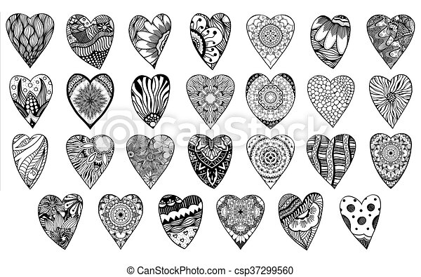 Set Of Heart Shaped Pattern