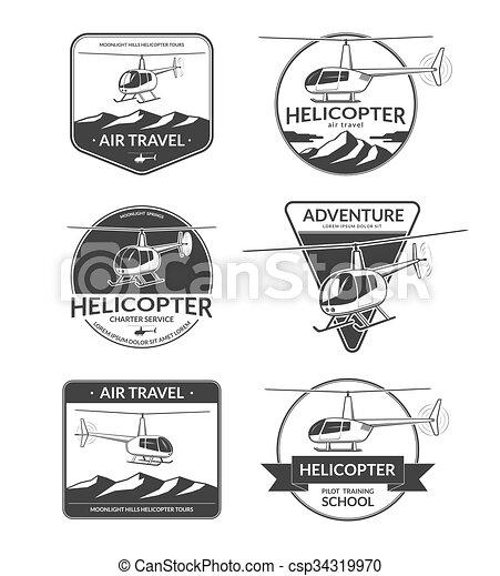 set of helicopter logos labels design elements in vintage style