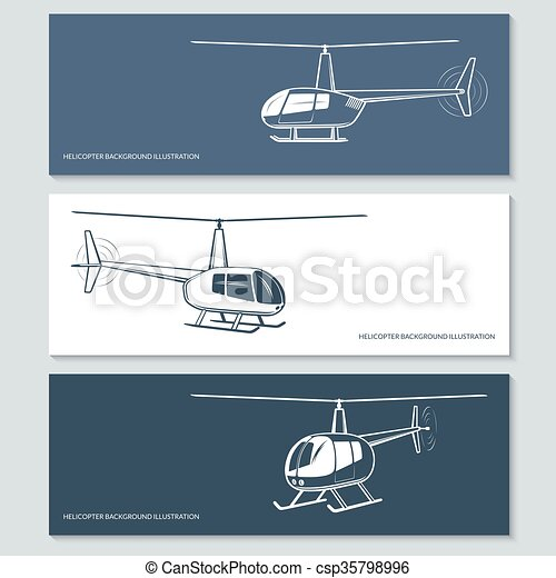 Set of helicopter silhouettes - csp35798996