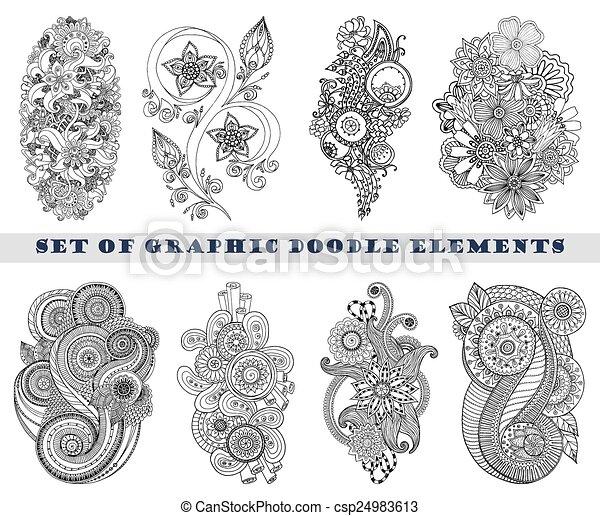 Set of Henna Paisley Mehndi Doodle Element. - csp24983613