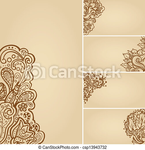 Set of henna tattoo floral banners and business card templates set of henna tattoo floral banners and business card templates csp13943732 accmission Images