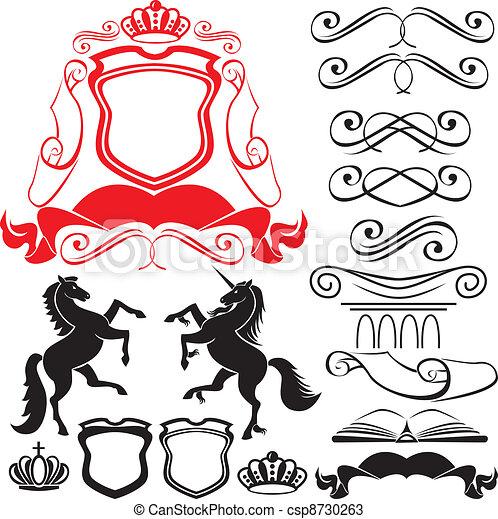 Set of heraldic silhouettes element - csp8730263