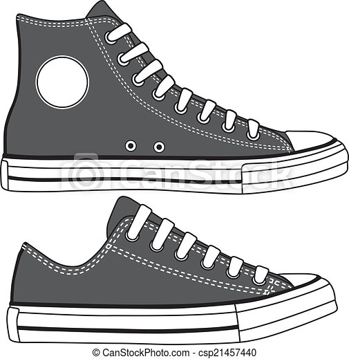 Set of high and low sneakers drawn. Vector - csp21457440