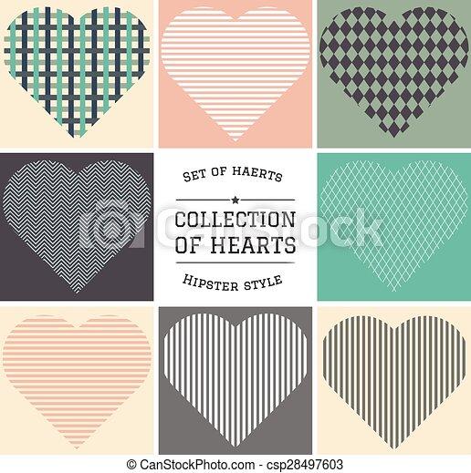 set of hipster hearts art - csp28497603