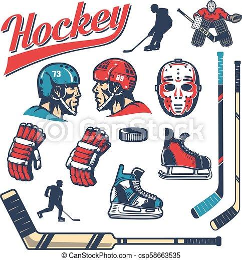 Set Of Hockey Design Elements In Retro Style