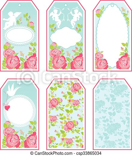 Set of holiday banners and labels in pink and blue colors ...