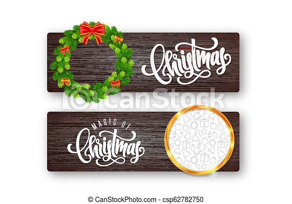 Set of holiday greeting card with lettering, fir wreath, red bow and golden frame with Christmas icons on wood background - csp62782750