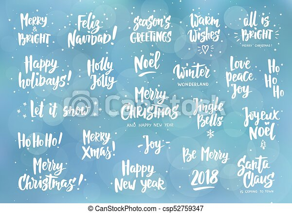 Set Of Holiday Greeting Quotes And Wishes Hand Drawn Text Great Extraordinary Holiday Wishes Quotes