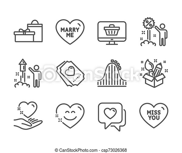 Set of Holidays icons, such as Hold heart, Roller coaster, Smile chat. Vector - csp73026368