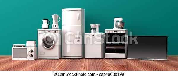 Set of home appliances on a wooden floor. 3d illustration - csp49638199