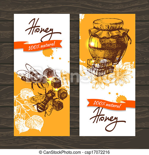 Set of honey banners with hand drawn sketch illustrations - csp17072216