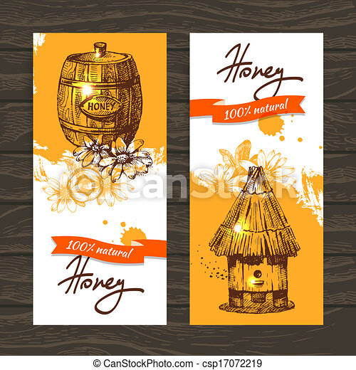 Set of honey banners with hand drawn sketch illustrations - csp17072219
