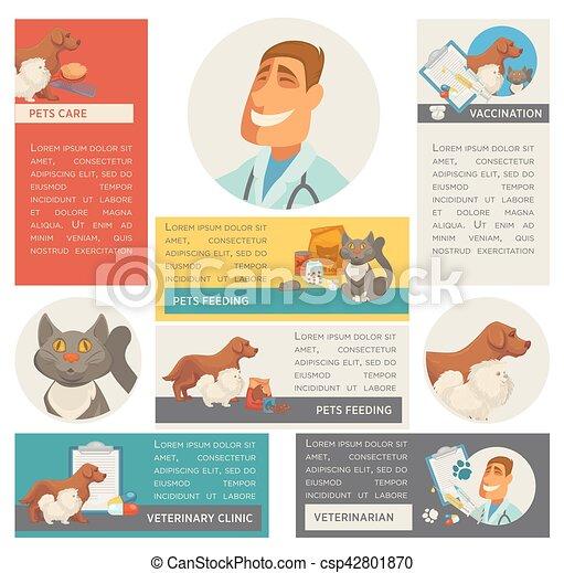 Set of horizontal banners. Pet care. Vet clinic. Flat design. - csp42801870